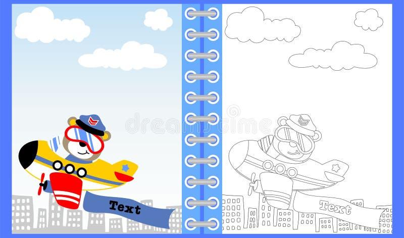 Милый пилотный мультфильм на самолете, книжка-раскраске/странице бесплатная иллюстрация