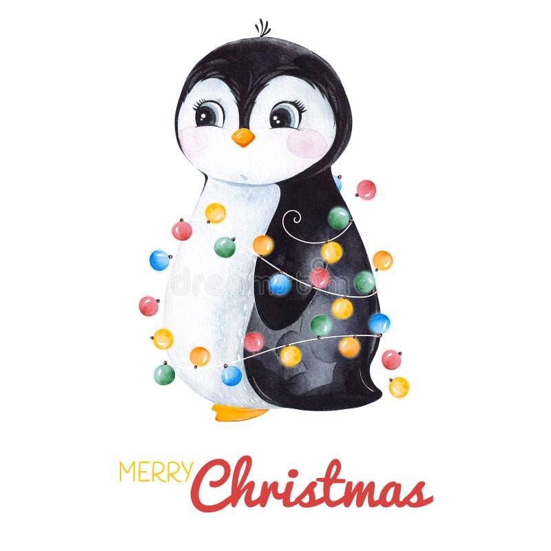 Милый пингвин акварели с гирляндой рождества иллюстрация вектора