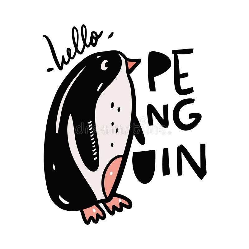 Милый пингвин в стиле мультфильма E бесплатная иллюстрация