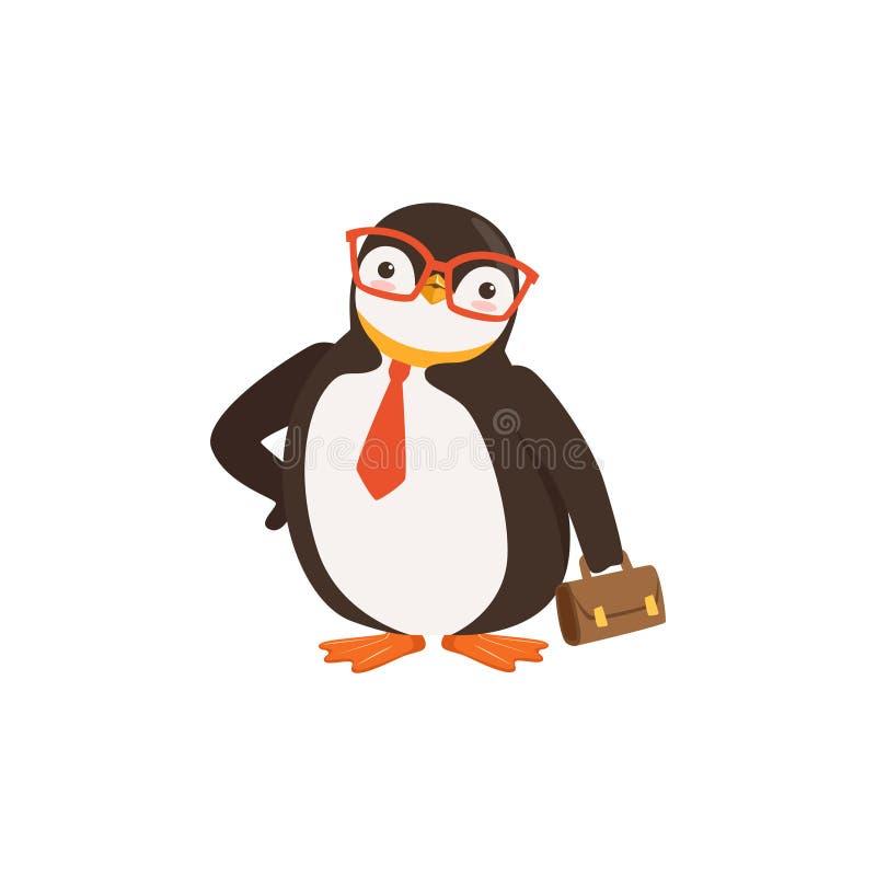 Милый пингвин Мультяшка Doodle в стеклах и связи держит портфель на белом векторе предпосылки иллюстрация штока