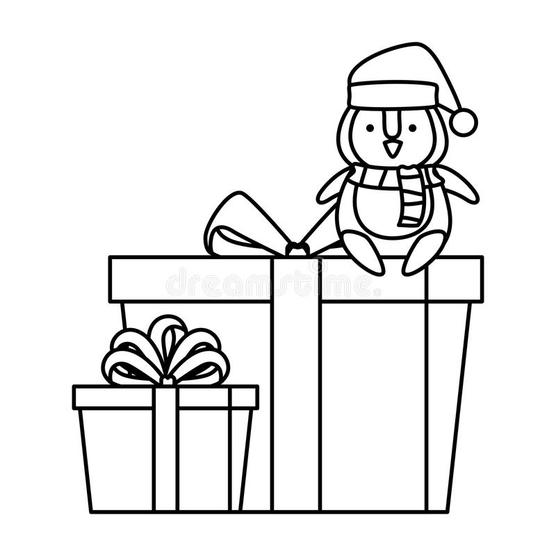 Милый пингвин со шляпой Санта Клауса в подарке иллюстрация вектора