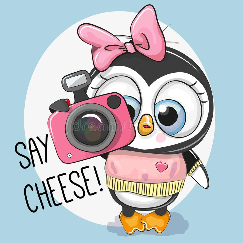 Милый пингвин шаржа с камерой бесплатная иллюстрация