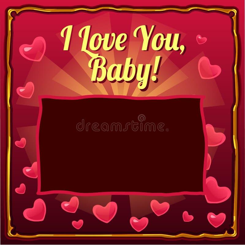 Милый плакат с космосом для вашего текста и младенец слов я тебя люблю на предпосылке сердец Крышка для фотоальбома младенца иллюстрация вектора