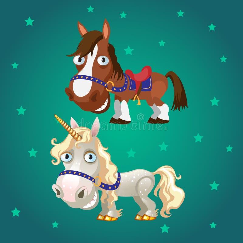 Милый плакат с усмехаясь скаковой лошадью и единорогом с копытами золота Иллюстрация конца-вверх шаржа вектора иллюстрация вектора