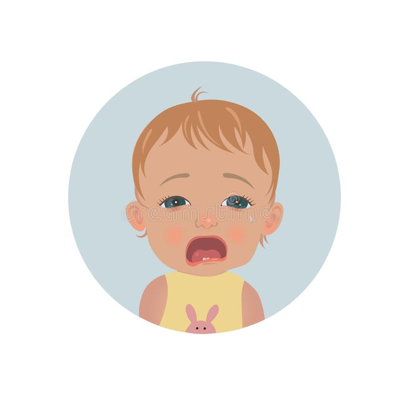 Милый плача смайлик младенца Печальное emoji ребенка Плача значок smiley ребенк иллюстрация штока