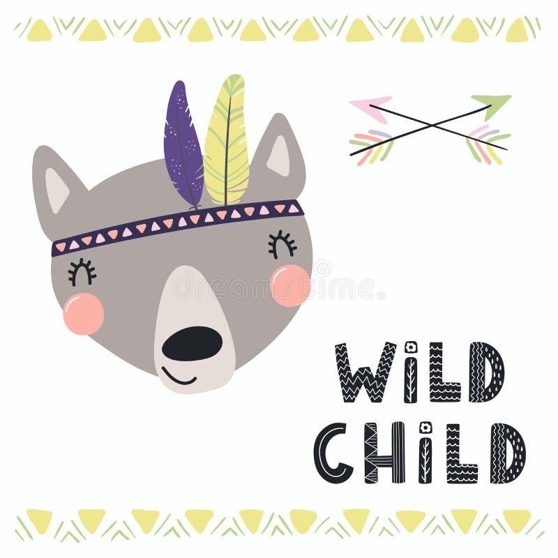 Милый племенной волк бесплатная иллюстрация