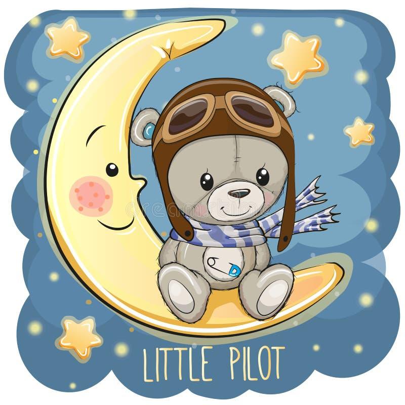 Милый плюшевый медвежонок в пилотной шляпе сидит на луне иллюстрация штока