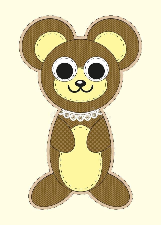 Милый плюшевый медвежонок шаржа в плоском дизайне для поздравительной открытки, приглашения и логотипа с текстурой ткани иллюстрация штока