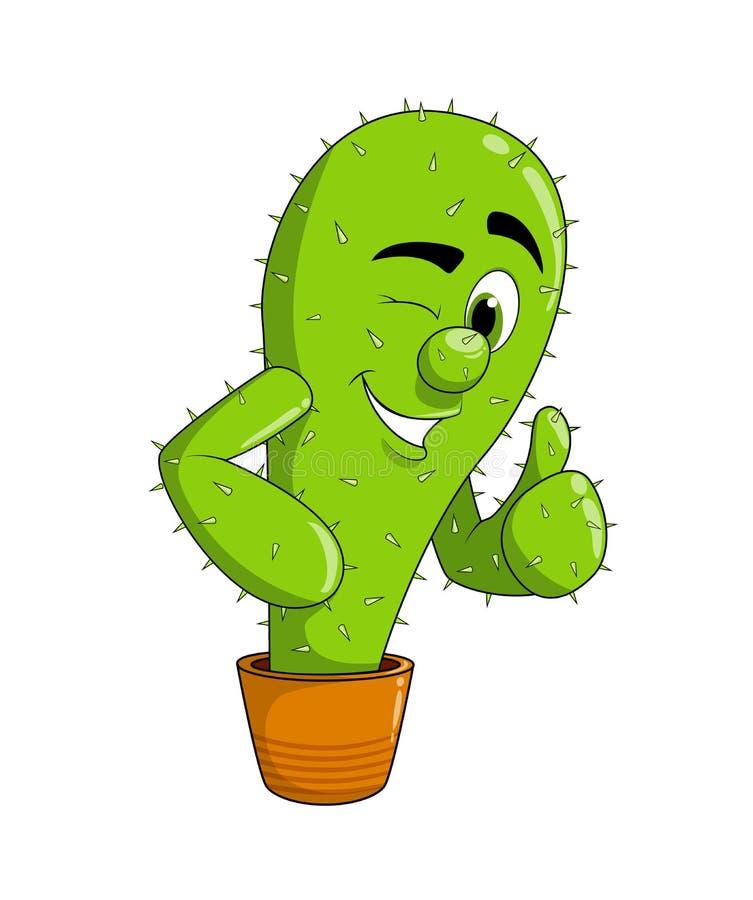 Милый показ кактуса улыбки мультфильма показывает жест крутой - большой палец руки вверх иллюстрация вектора