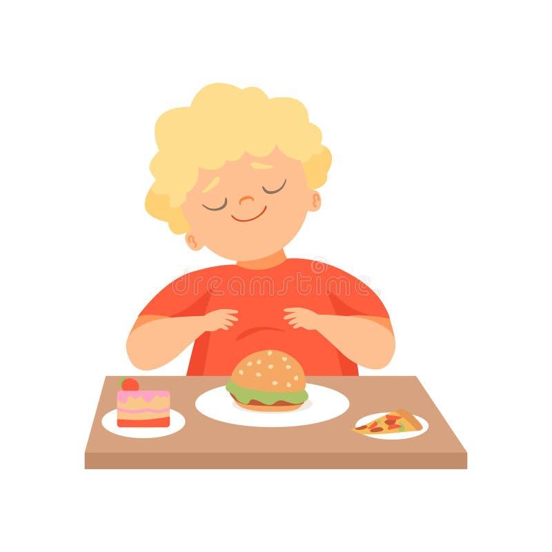 Милый полный мальчик есть бургер, ребенк наслаждаясь едой иллюстрации вектора фаст-фуда иллюстрация вектора