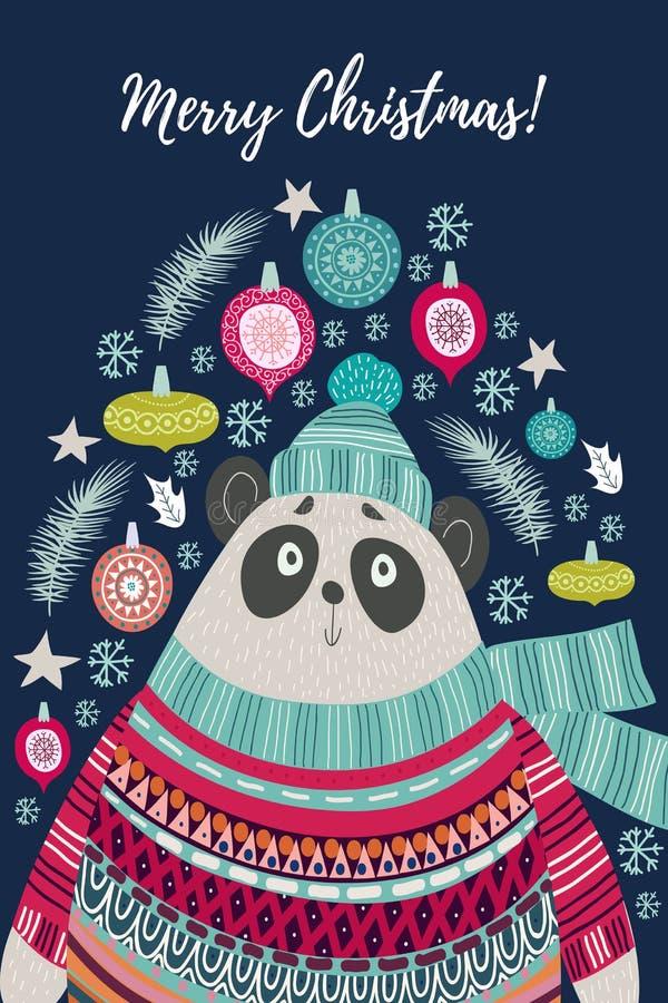 Милый полярный медведь в шляпе и шарфе Шаблоны рождественских открыток в стиле плоских doodles, иллюстрации вектора на детях иллюстрация штока