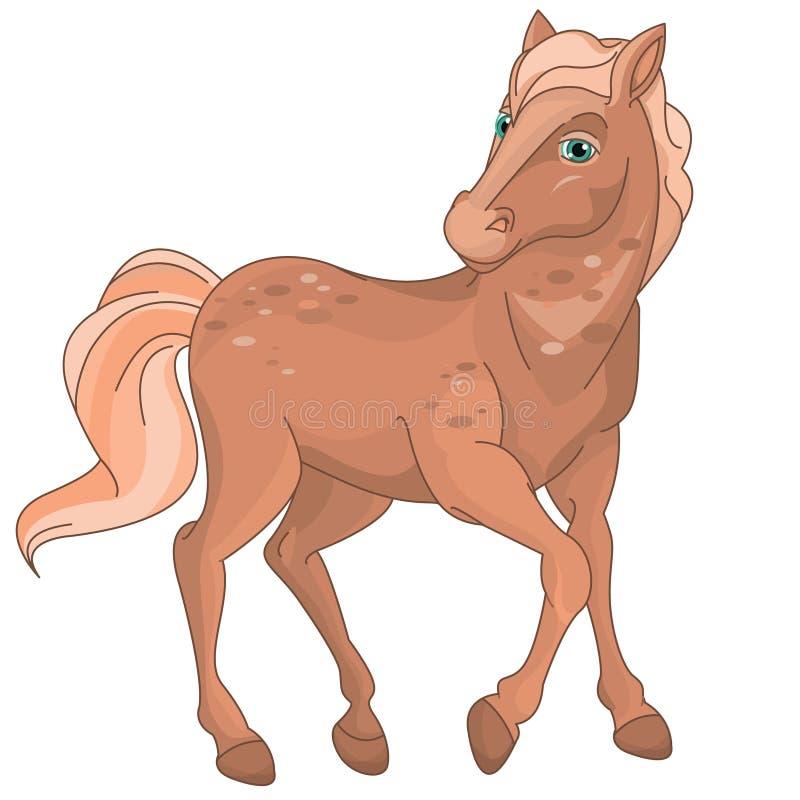 Милый пони лошади Брайна милый иллюстрация штока