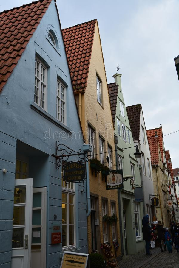 Милый район Schnoor в Бремене Германии стоковое фото rf