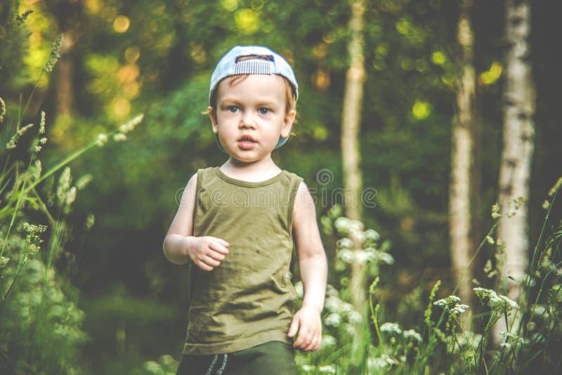 Милый ребенк идя в лес самостоятельно стоковое изображение rf