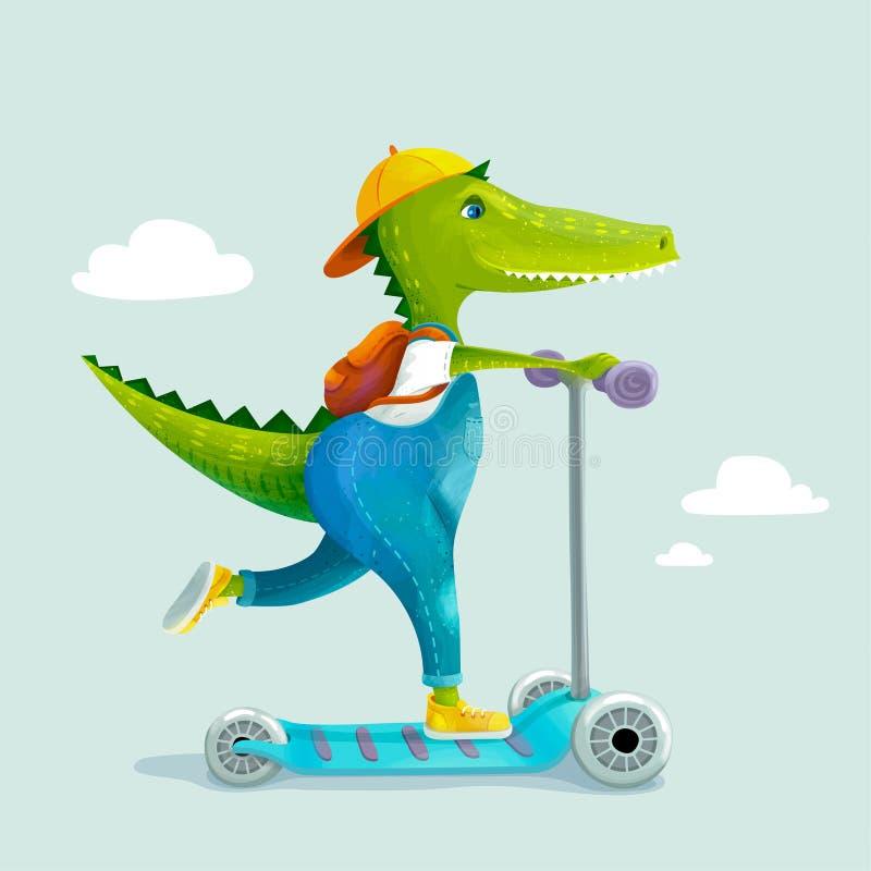 Милый ребенк крокодила ехать скутер пинком также вектор иллюстрации притяжки corel бесплатная иллюстрация