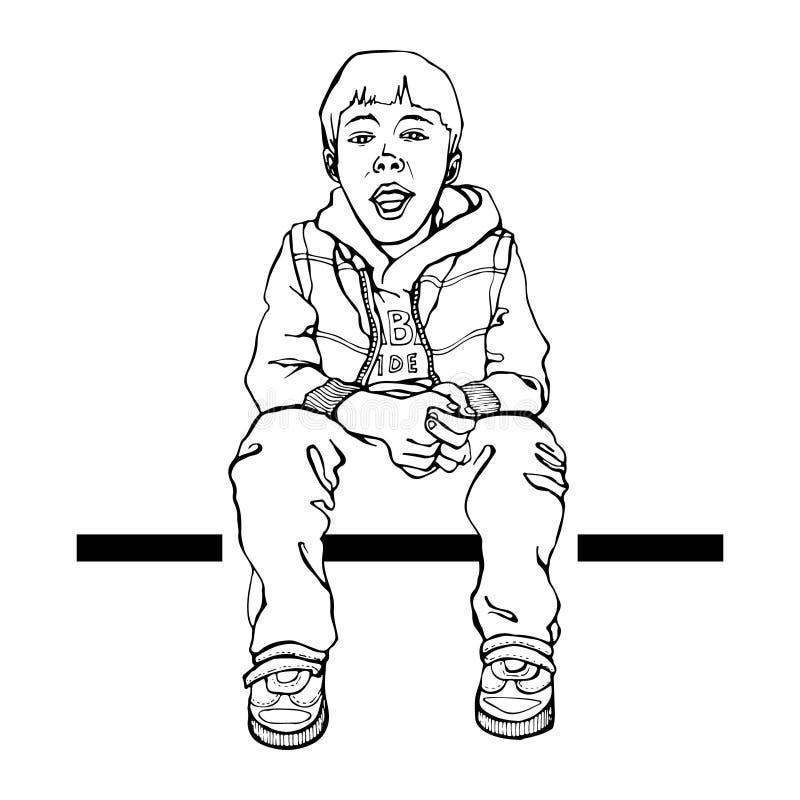 Милый ребенк мультфильма Крутой маленький парень Иллюстрация для оформления, футболка вектора, графики иллюстрация вектора