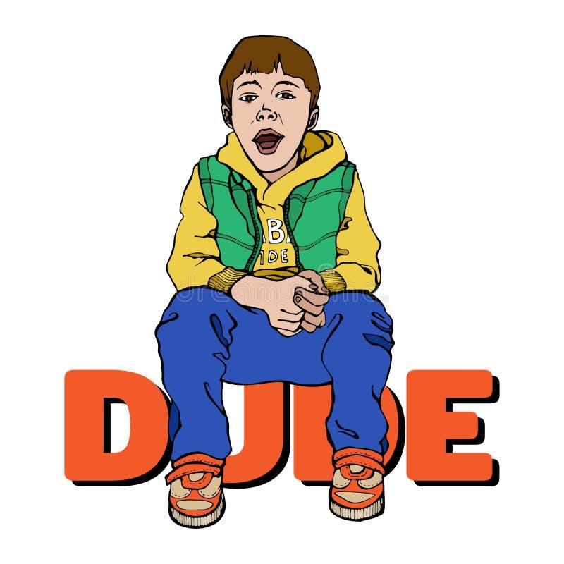 Милый ребенк мультфильма Крутой маленький парень Иллюстрация для оформления, футболка вектора, графики иллюстрация штока