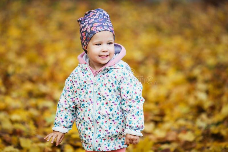 Милый ребёнок среди золотых кленовых листов осени стоковые фото