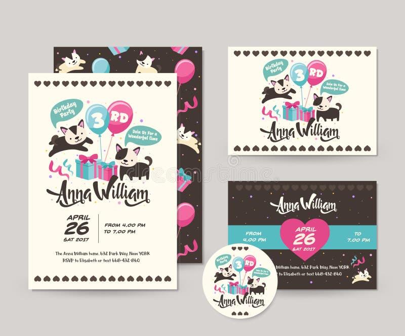 Милый редкий комплект карточки приглашения темы черного кота с днем рождения и шаблон иллюстрации рогульки иллюстрация вектора
