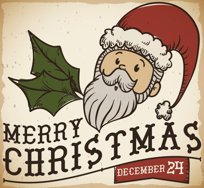 Милый ретро плакат с Санта Клаусом для торжества рождества, иллюстрации вектора иллюстрация штока