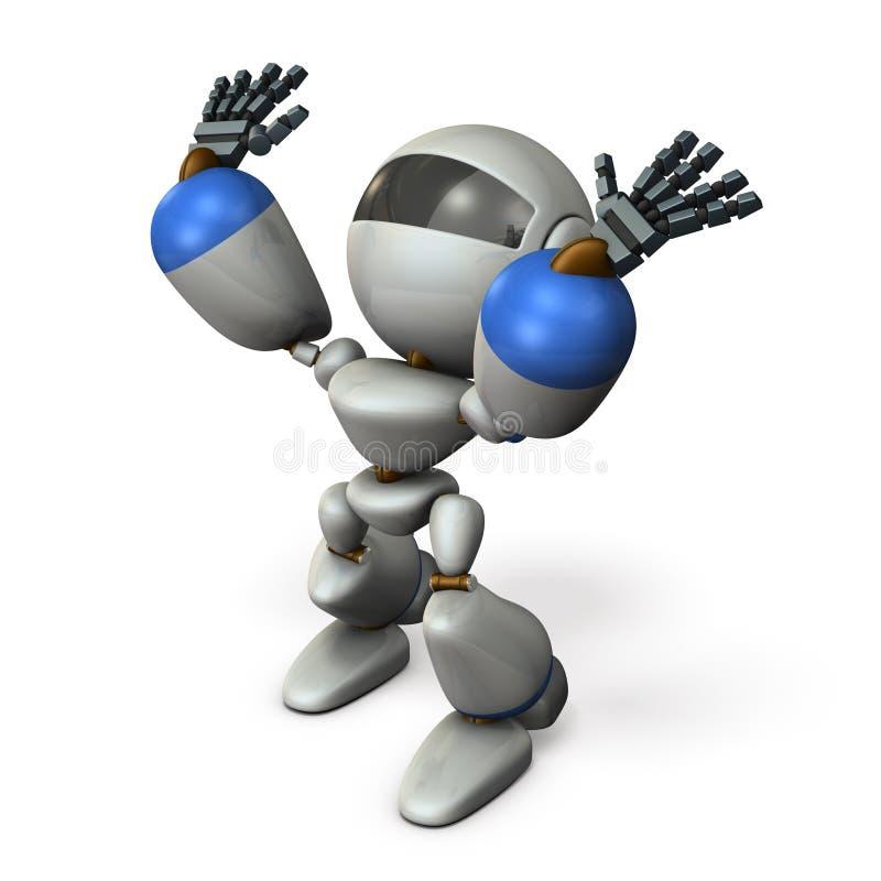 Милый робот который готовит повышение обе руки иллюстрация штока
