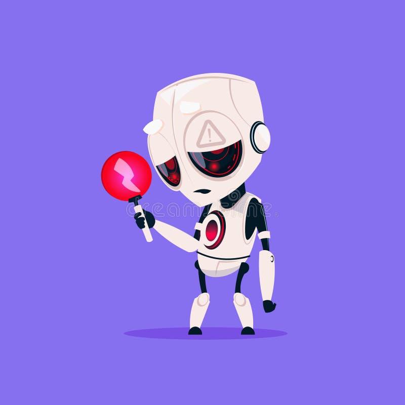 Милый робот с значком красной молнии малозарядным изолированным на искусственном интеллекте технологии голубой предпосылки соврем бесплатная иллюстрация