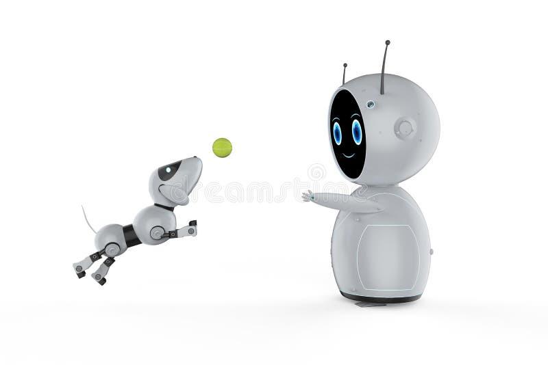 Милый робот с роботом собаки