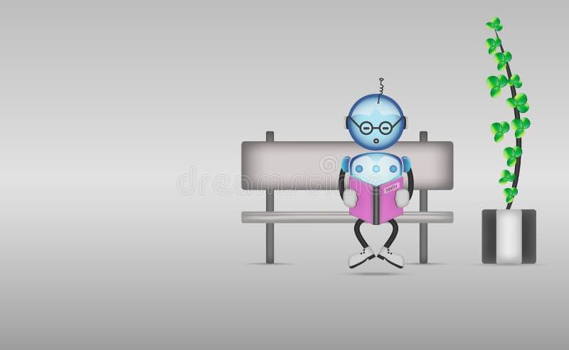 Милый робот шаржа книга чтения сидя на стенде иллюстрация штока