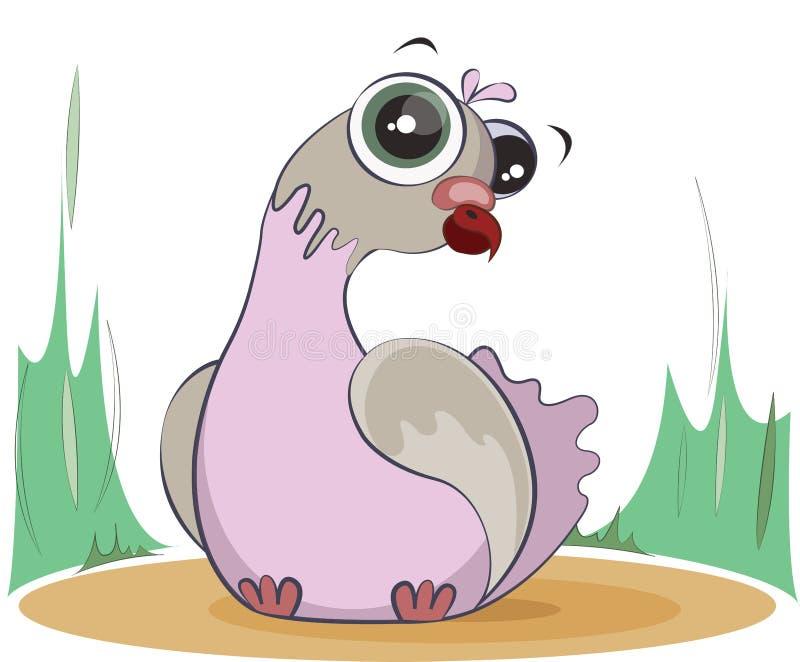 Милый розовый голубь сидит на траве головка дерзких милых собак персонажа из мультфильма предпосылки счастливая изолировала белиз иллюстрация вектора