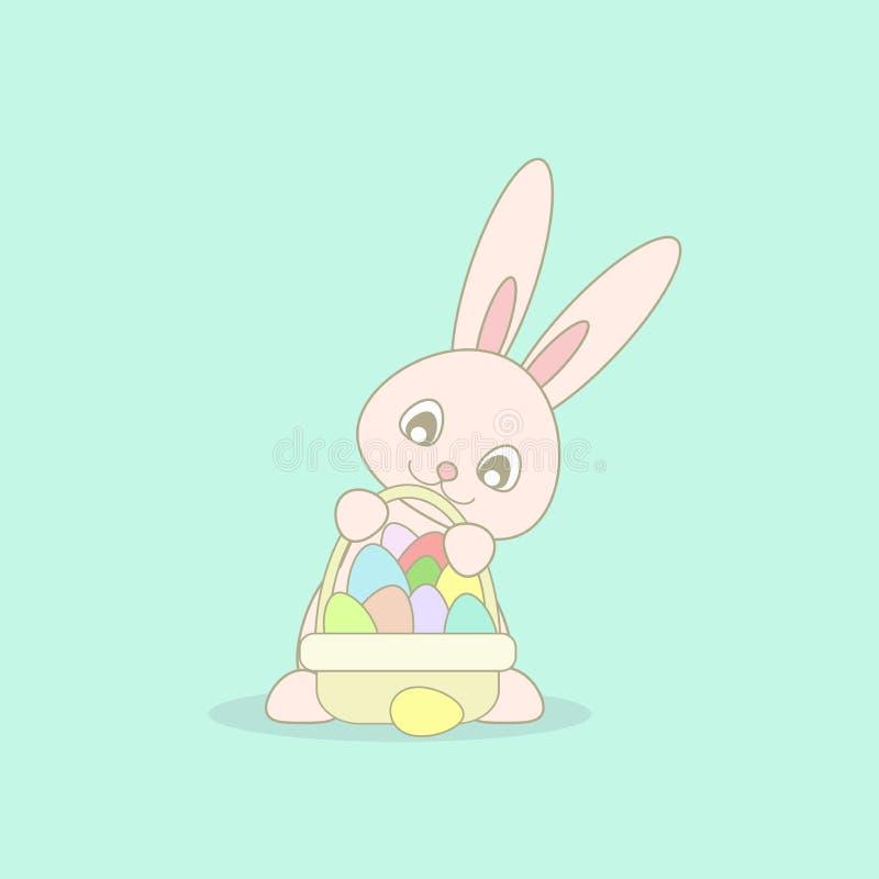 Милый розовый зайчик пасхи с корзиной пасхи с яичками других цветов на предпосылке бирюзы иллюстрация вектора