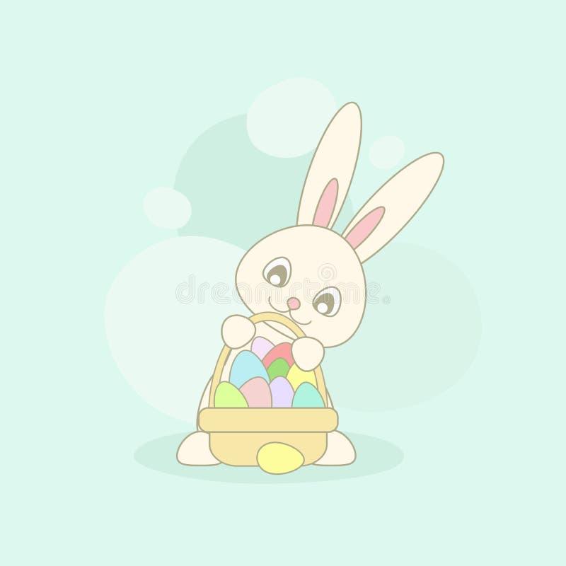 Милый розовый зайчик пасхи с корзиной пасхи с яйцами других цветов на предпосылке бирюзы бесплатная иллюстрация