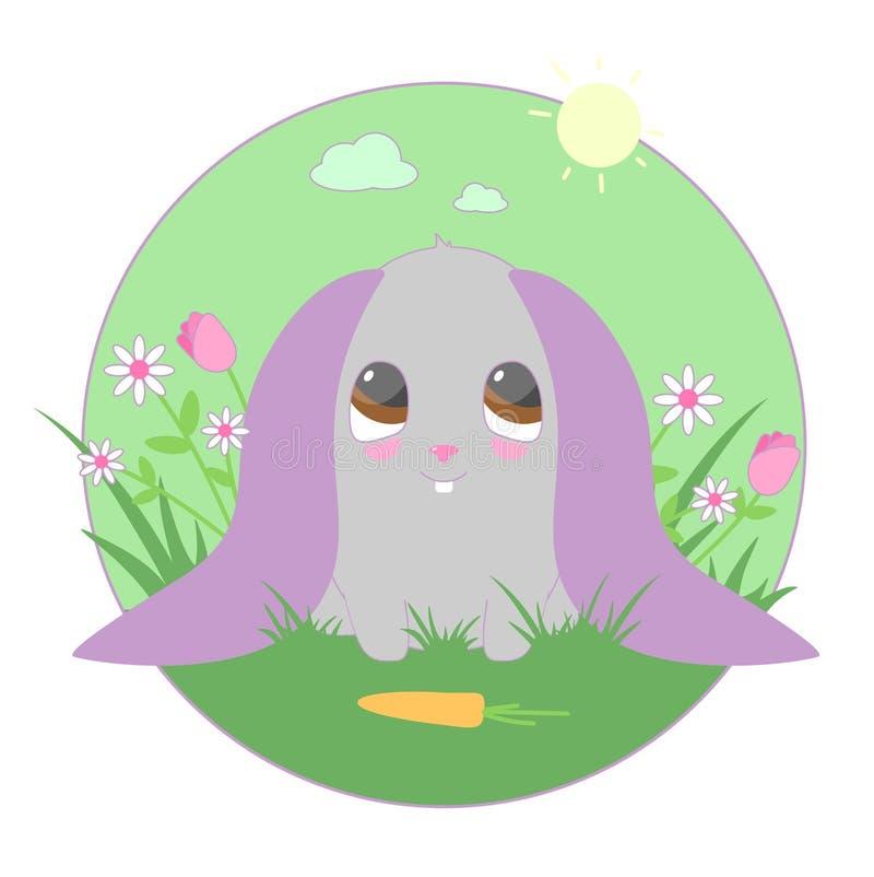 Милый розовый кролик с морковами иллюстрация вектора