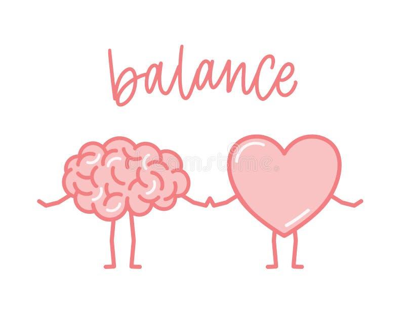 Милый розовый мозг и сердце держа руки Смешные человеческие органы шаржа изолированные на белой предпосылке Концепция баланса  иллюстрация вектора