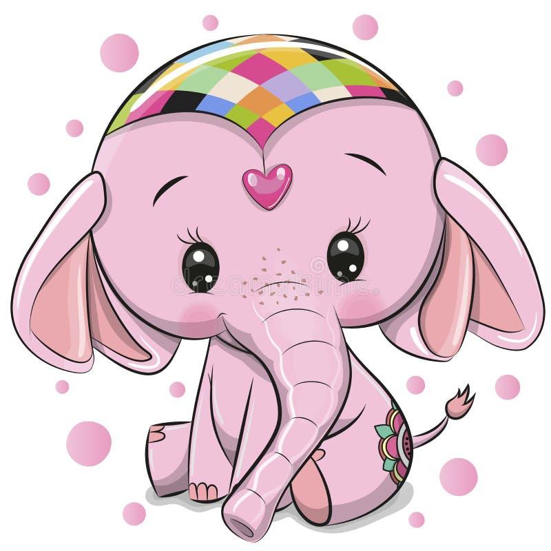 Милый розовый слон изолированный на белой предпосылке иллюстрация штока