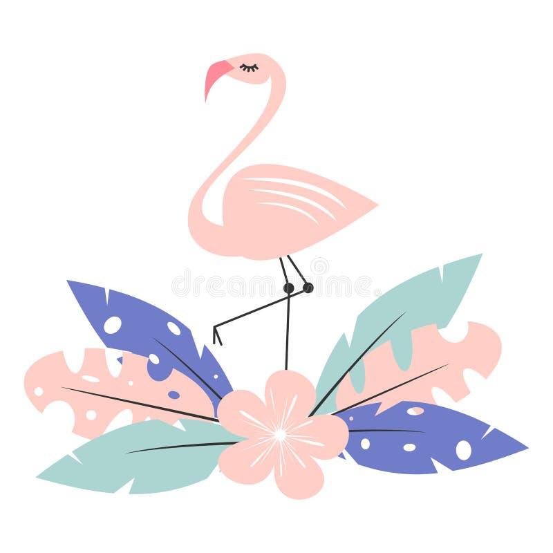Милый розовый фламинго с экзотическими тропическими листьями и иллюстрацией вектора цветка изолированной на белой предпосылке бесплатная иллюстрация