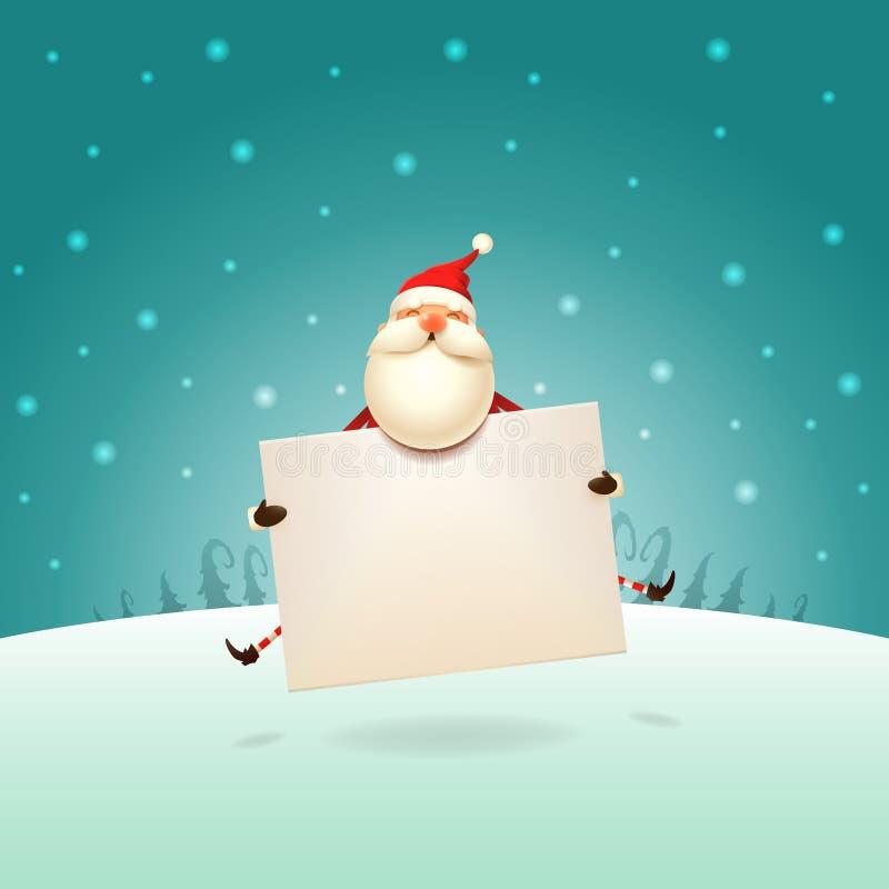 Милый Санта Клаус скача с доской на ландшафте зимы - плакатом шаблона рождества иллюстрация штока