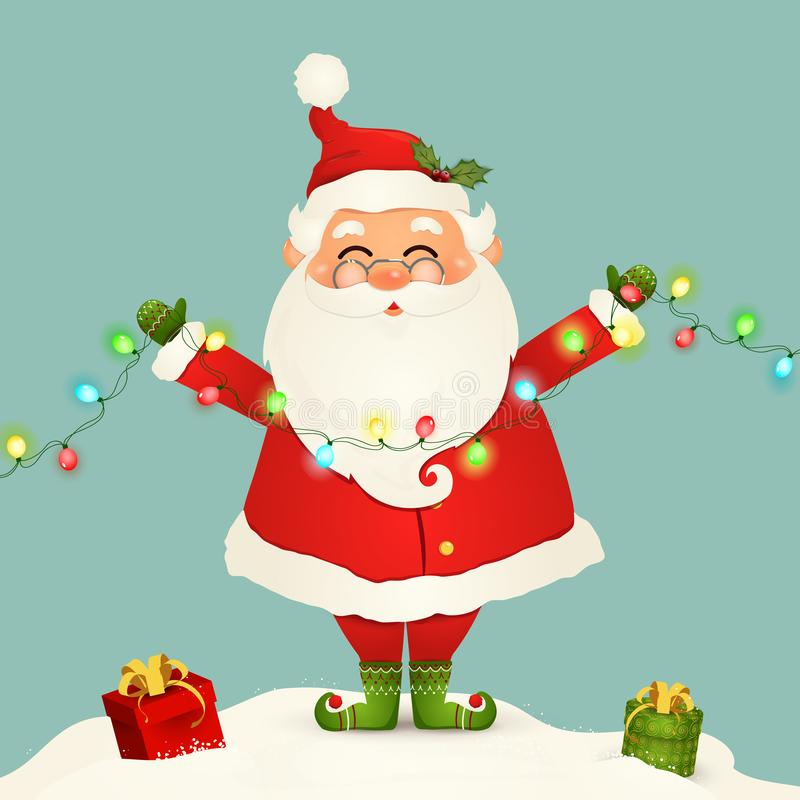 Милый Санта Клаус стоя в снеге держа гирлянду светов рождества изолированный Санта Клаус на зима и Новый Год иллюстрация штока