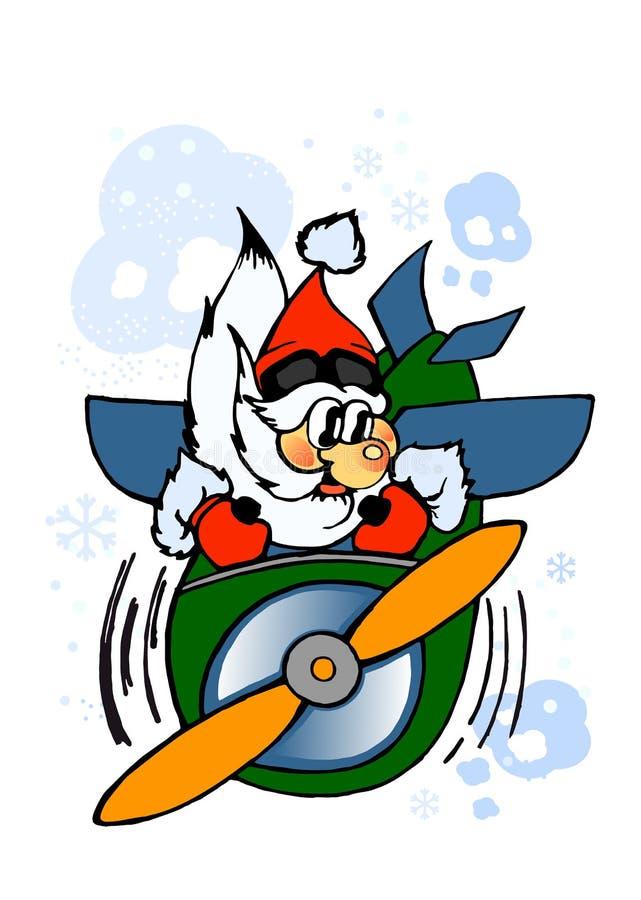 Милый Санта-пилот Иллюстрация милая, славный, смешной мультфильм Санта рождества с подарками Знамя зимы бесплатная иллюстрация