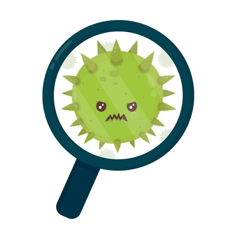 Милый сердитый злий плохой вирус семенозачатка мухы иллюстрация вектора