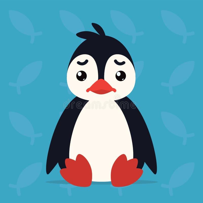 Милый сидеть пингвина унылый Иллюстрация вектора ледовитой птицы показывает несчастную эмоцию Emoji тоскливости smiley иконы печа иллюстрация штока