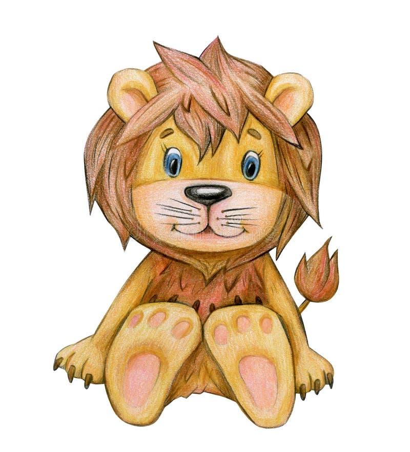 Милый сидя шарж льва иллюстрация вектора