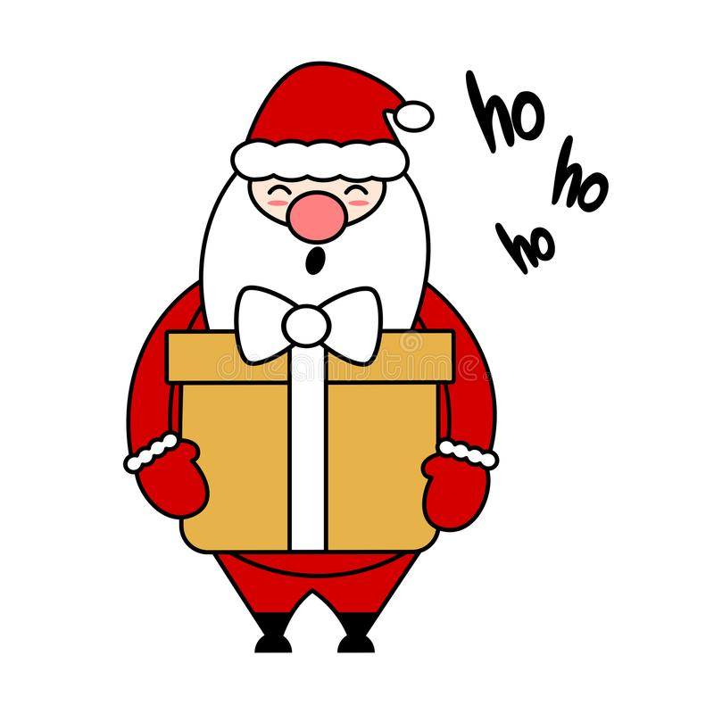 Милый симпатичный вектор Санта Клаус шаржа при большой подарок изолированный на белой предпосылке иллюстрация вектора