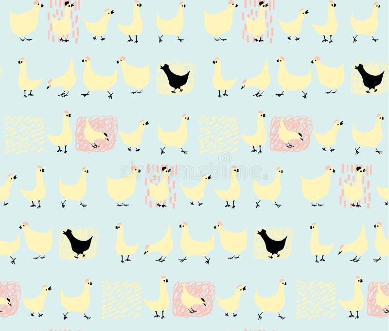 Милый, симпатичный, довольно и простое животное смотрит на эскиз, лису и куриц Doodle значки стиля для детей, совершенные для кар иллюстрация штока