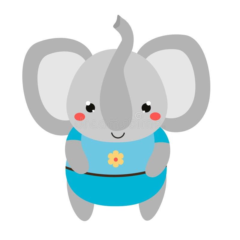 Милый слон в голубых одеждах Характер животного kawaii шаржа Иллюстрация вектора для детей и моды младенцев иллюстрация вектора