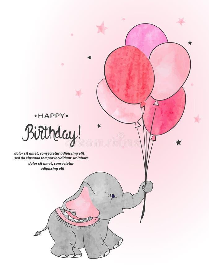 Милый слон с иллюстрацией вектора акварели воздушных шаров иллюстрация штока