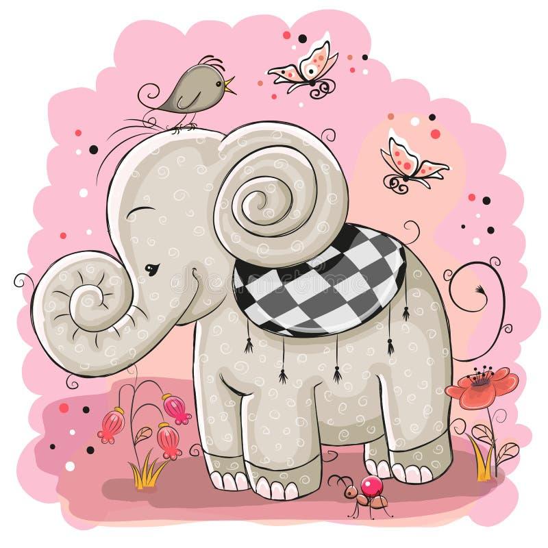 Милый слон шаржа и птица иллюстрация штока