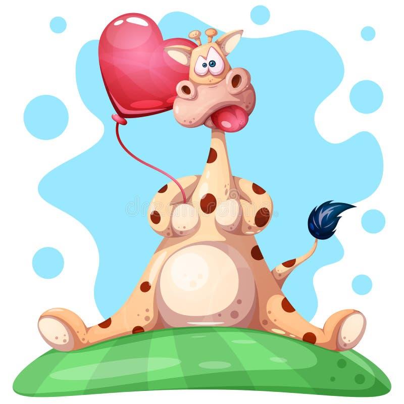 Милый, смешной жираф с воздушным шаром сердца иллюстрация вектора