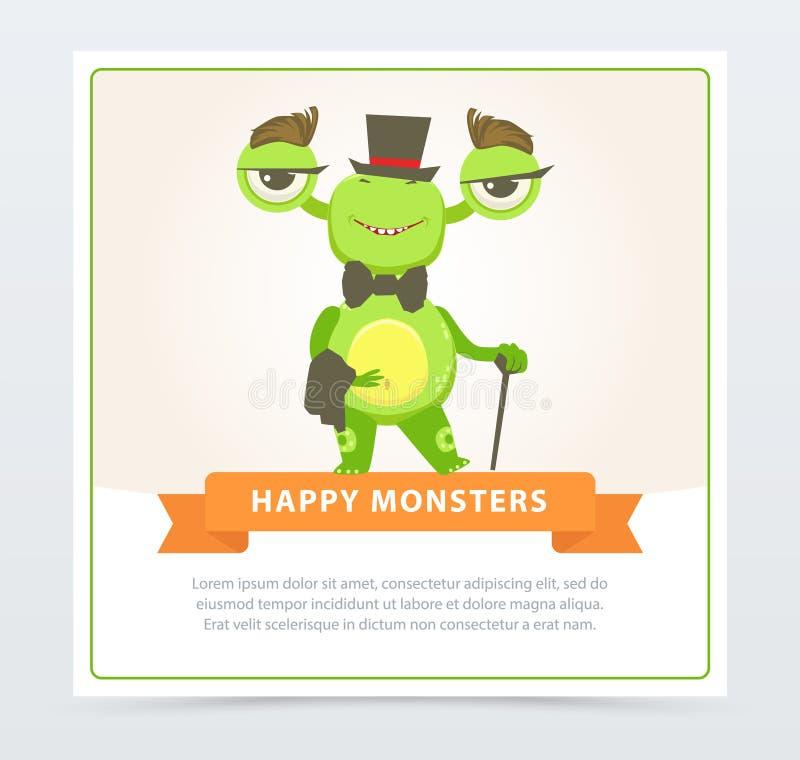 Милый смешной зеленый джентльмен изверга одевал верхнюю шляпу и бабочку, счастливый элемент вектора шаржа знамени извергов для иллюстрация вектора