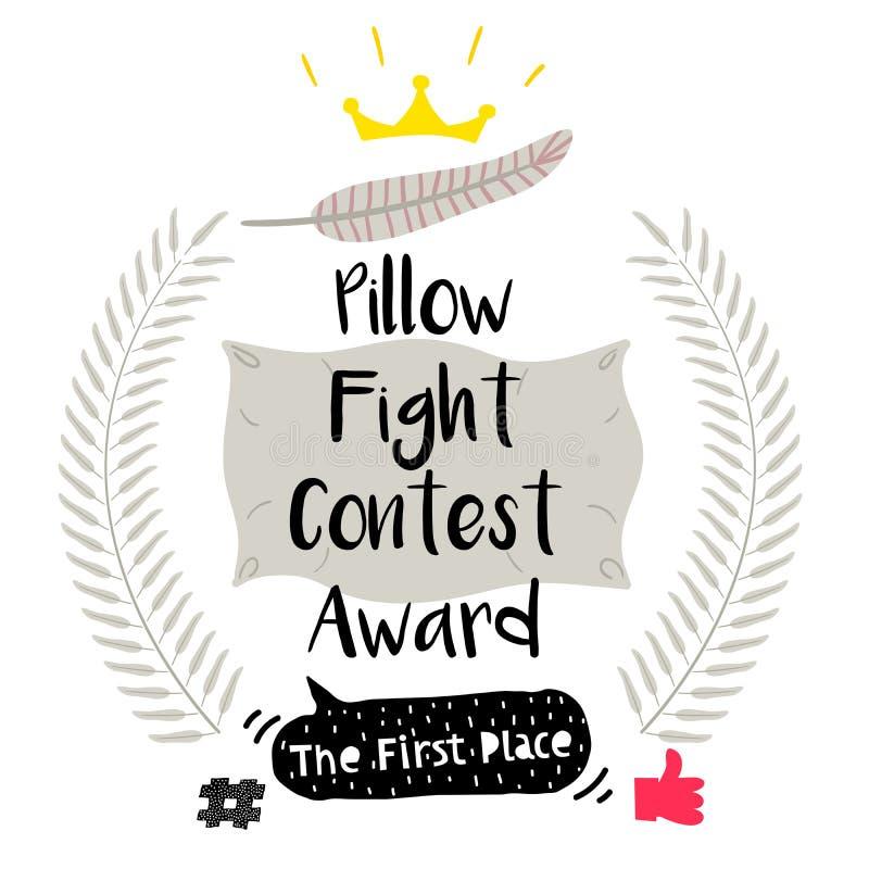 Милый смешной значок награды боя подушками иллюстрация вектора