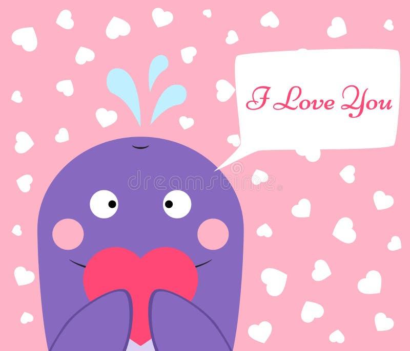 Милый, смешной кит с сердцем иллюстрация вектора